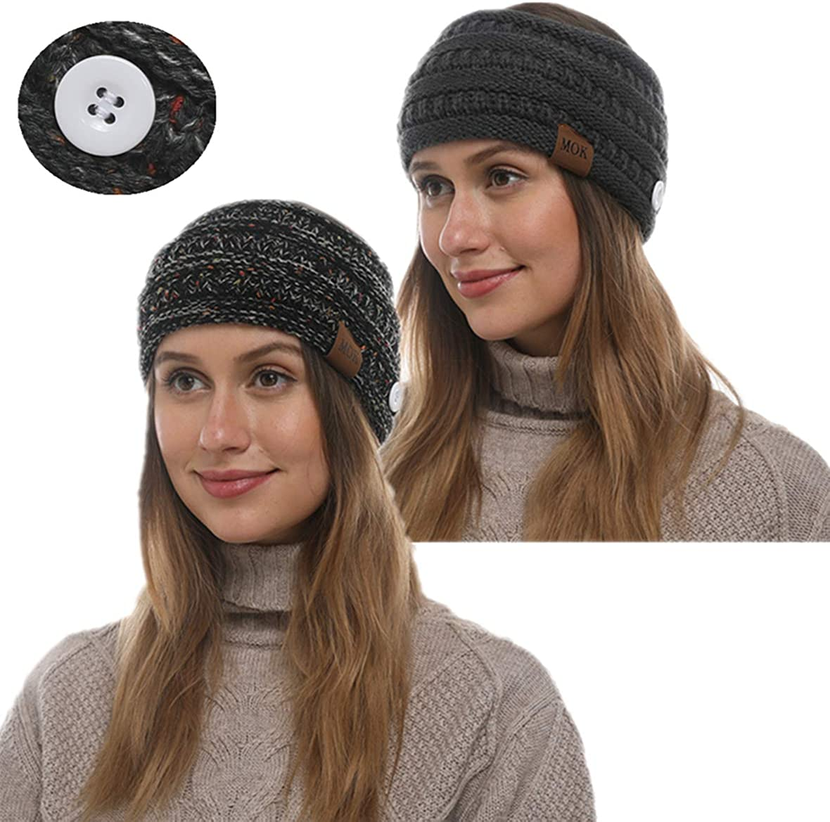Soft Stretch Winter Warm Cable Knit Fuzzy Lined Ear Warmer Headband With button Or Mouth Cover For Girls Women