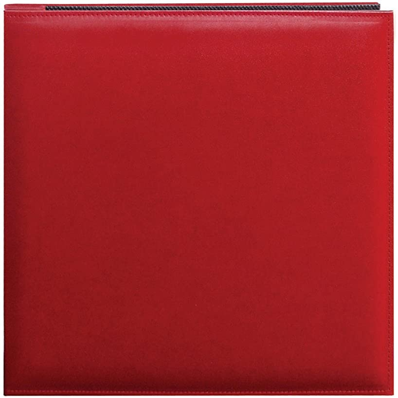 Pioneer 12 Inch by 12 Inch Snapload Sewn Leatherette Memory Book, Red