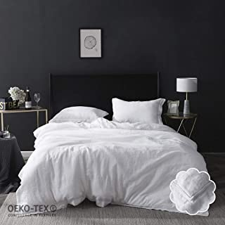 Simple&Opulence 100% Washed Linen Duvet Cover Set 3 Piece Home Bedding Sets with Button Closure(White,King