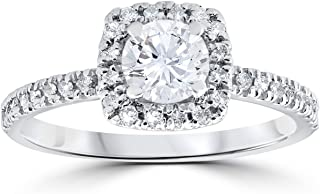 1/2ct Diamond Cushion Halo Engagement Ring 10K White Gold