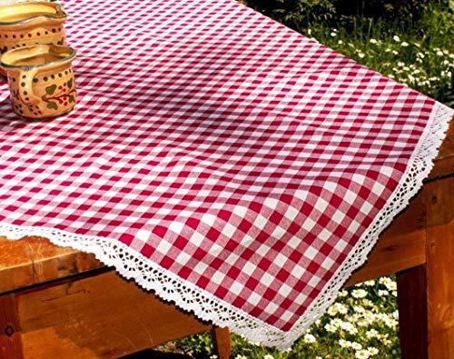 rot-weiß karierte Tischdecke/Mitteldecke mit Klöppelspitze