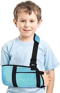 Arm Sling for Kids, Medical Child Arm Sling with Waist Strap, Padded Children Arm Support Sling Shoulder Immobilizer for Broken Elbow, Wrist, Arm, Shoulder Injury, Rotator Cuff, Left or Right Arm