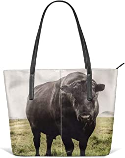 Big black angus bull Leather Tote Large Purse Shoulder Bag Portable Storage HandBags Convenient Shoppers Tote
