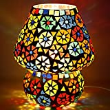 Earthenmetal 6.5 inches Mushroom Shaped Glass Table lamp for Bedside Living & Home Decoration Turkish lamp (Multicolour, Bulb not Included)