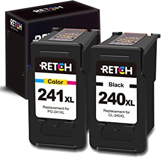 RETCH Re-Manufactured Ink Cartridge Replacement for Canon PG-240XL 240 XL CL-241XL 241 XL for Canon PIXMA MG3620 MX472 MX452 MG3220 MG3520 MG2220 MX532 TS5120 MX432 (1 Black 1 Tri-Color)