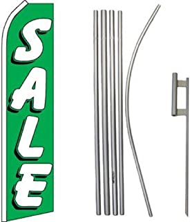 ALBATROS Sale Green White Swooper Flag with 16ft Flagpole Kit/Ground Spike for Home and Parades, Official Party, All Weather Indoors Outdoors