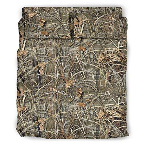 Zaclay 4er-Set Camouflage Hay Bettdecken-Set Bettbezüge/Kissenbezüge Tagesdecke - weich & leicht -Waschen Bettlaken Set Abdeckung White 203x230cm