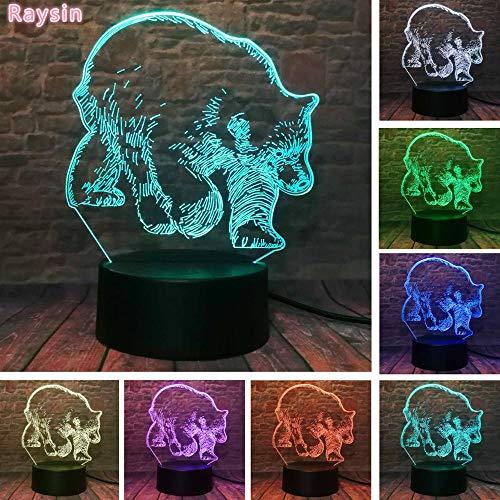 Oso polar 3D ilusión LED USB toque colorido noche iluminado juguetes creativos dibujos animados personalizada decoración niño niños Navidad juguetes regalo