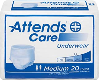 Attends Moderate Absorbency Protective Underwear, Size Medium, Pack of 4 (80 Underwear Total)