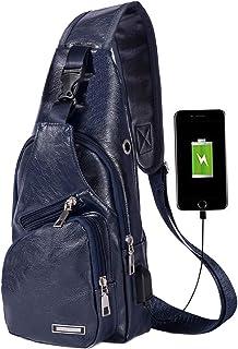 حقيبة رفع للرجال، حقائب ظهر كتف من الجلد للمتجممات والسفر عبر الجسد مع منفذ شحن USB