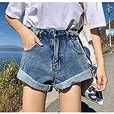 JJLESUN2Pantalones Cortos de Mezclilla Mujeres Summer Street Wear Pantalones Cortos de Cintura Alta Jeans Pantalones Cortos de Verano Mujeres