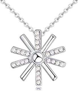 Austrian Crystal Rhodium Plated Charm Pendant Necklaces Jewelry Women