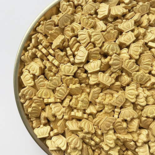 Sprinkles | Gold Crown Shaped Sprinkles | Edible Sprinkles | Gold Sprinkles | Confetti Sprinkles | Candy Sprinkles | Gluten-Less Sprinkles (4 ounce bag)