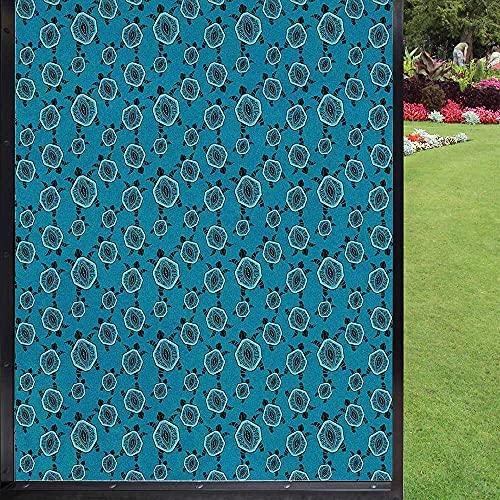 Película para ventana de tortuga, decoración del hogar, para baño, cocina, oficina, color turquesa, gris oscuro, azul marino, violeta azul, 60 x 90 cm