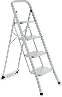 TU TENDENCIA ÚNICA Escalera metálica blanca plegable con peldaños anchos, con apoyabrazos. Tacos antideslizantes. Capacidad de carga 150kg (4 peldaños)