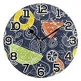 Reloj de pared Hojas de sandía Limón Dibujado Azul marino Reloj de acrílico redondo Números grandes negros Reloj silencioso sin tictac Pintura decorativa Reloj con pilas para la biblioteca del hotel d