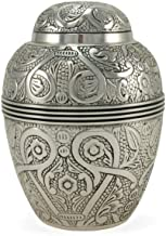 Near & Dear Pet Memorials 80 Cubic Inch Embossed Pet Cremation Urn, Small, Silver