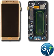 Group Vertical Replacement Complete Frame AMOLED Touch Digitizer Screen Assembly Compatible with Samsung Galaxy S6 Edge Plus (Gold Platinum) (SM-G928V) (GV+ Performance)