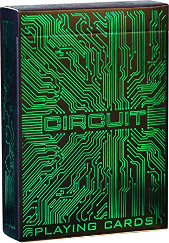 Circuit Neon Green Playing Cards with Free Card Game eBook, Creative Deck of Cards, Premium Card Deck, Cool Poker Cards, Unique Bright Colors for Kids & Adults, Computer Themed, Black Playing Cards