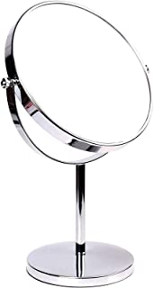 Pedestal Mirror 8 Inch 5X Magnification, Two-Sided Swivel Mirror Chrome Finish Cosmetic Mirror, Standing Shaving Mirror Ma...