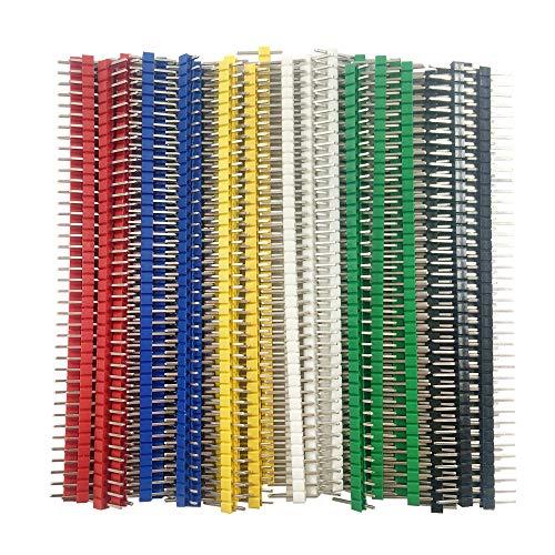 Jabinco 30 Pcs 40 pin Breakable Pin Header 2.54mm Single Row Male Header Connector Kit PCB Pin Strip for Arduino