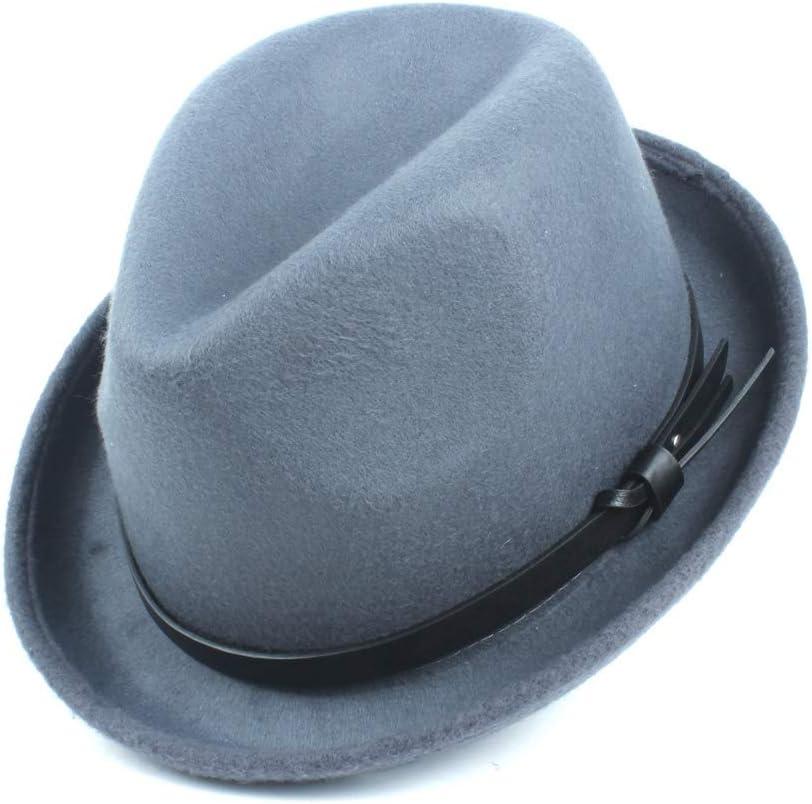 LHZUS Hats Felt Winter Autumn Fedora Fedora Hat Ladies Men's Narrow Belt Decorative Wool Classic Jazz Hat (Color : Gray, Size : 56-58cm)