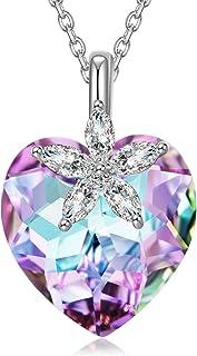 Regalo para Ella, Serie Mundo Hermoso, Collar de Mujer, Plata de Ley 925, Cristal de Aurora Boreal de Swarovski, Exquisita Caja de Regalo