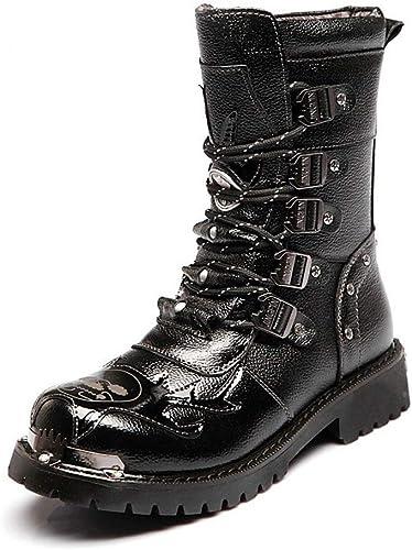 Fuxitoggo Chaussures pour Hommes Bottes de Combat en Cuir à Talon mi-Mollet à Lacets pour Homme (Couleur  Noir, Taille  44 EU) (Couleuré   Noir, Taille   39 EU)