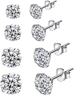 FunDiscount 4 Pair 925 Sterling Silver Stud Earrings Set Pricess Cut Cubic Zirconia Ear Piercing Simulated Diamond Round CZ Ear Stud Hypoallergenic Multi-Piercing Ear Pierced 3mm 4mm 5mm 6mm (4 Set)