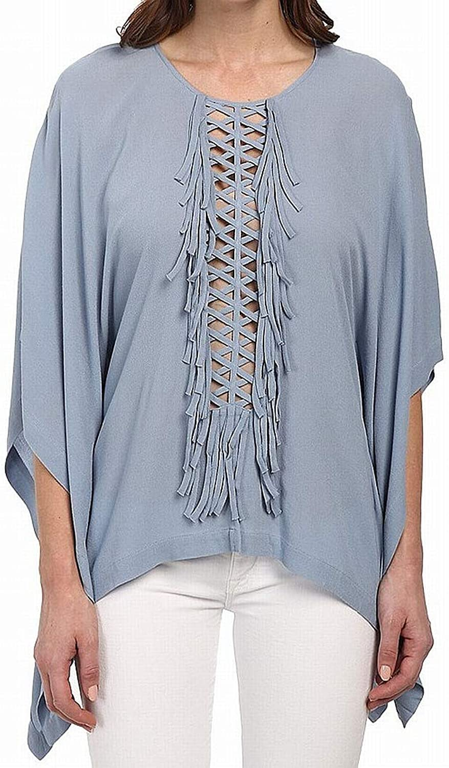 BCBGMAXAZRIA Women's Fringe Woven Top Shadow bluee Blouse SM (US 4)
