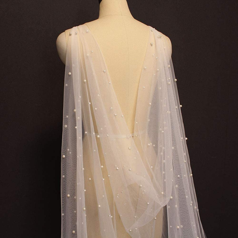 Pearls Bridal Wraps Save money 3 Meters Long White Special price Cape Bolero Ivory