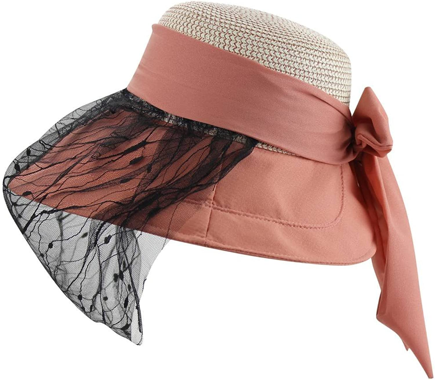 EYourlife2012 Womens Summer Beach Lace Face Mask Floppy Wide Brim Bowknot Straw Sun UV Hat Cap