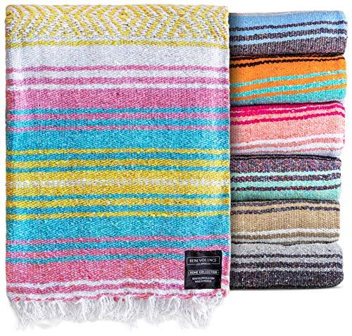 Authentic Mexican Blanket - Beach Blanket, Handwoven Serape Blanket, Perfect as Beach Blankets, Picnic Blanket, Outdoor Blanket, Yoga Blanket, Camping Blanket, Car Blanket, Woven Blanket (Sunrise)