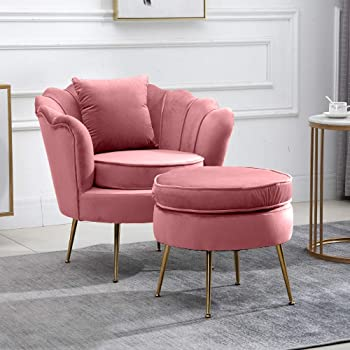 Wahson Velvet Accent Chair For Bedroom With Gold Plating Metal Legs Leisure Armchair For Living Room Cafe Vanity Pink Amazon Co Uk Kitchen Home