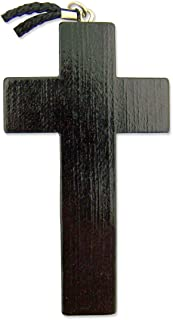 Religious Christian Gift 3 1/8 Inch Black Wood Wooden Latin Cross on 32 Inch Rope Chain