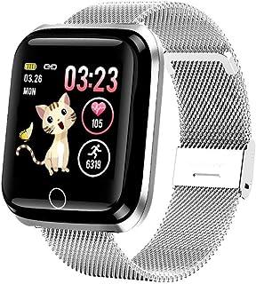 WUHUAROU Reloj Inteligente a Color para Mujer, Pulsera de Actividad de presión Arterial con frecuencia cardíaca, Reloj Deportivo Resistente al Agua, Reloj Inteligente (Color : Silver)