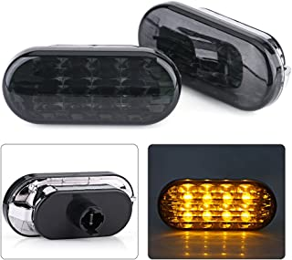 Acout 1 Pair Side Marker Lights Car Amber Fast On/Off Response LED Light for VW Golf Jetta Bora MK4 Passat B5 B5.5 Black Lens