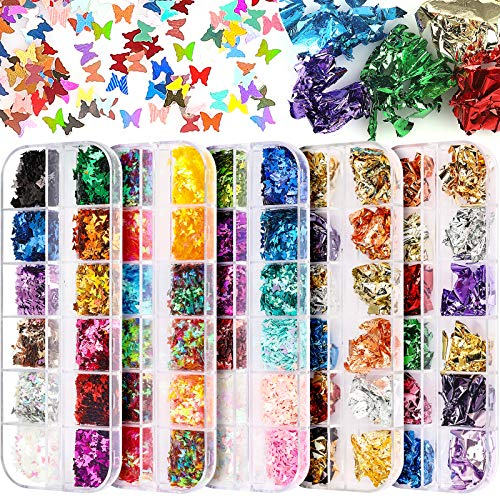 5 Boxen Nagel Glitzer und Blattgold Set, FANDAMEI Nail Art Pailletten Nagelfolie Nagelkunst Dekoration, 36 Gitter Schmetterling Nagel Glitter, 24 Gitter Blattgold für Nagelkunst, Make-up, Basteln, DIY