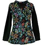 GURU SHOP Besticktes Langarmshirt mit V-Neck Flower Power Hippie Chic, Damen, Schwarz/bunt, Baumwolle, Size:S (36), Pullover, Longsleeves & Sweatshirts Alternative Bekleidung