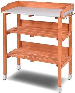 Giantex Outdoor Garden Wooden Potting Bench Work Station Table Tool Storage Shelf W/Hook (Orange)