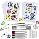 169 Pcs Plástico Mágico Shrink Plastic, incluyen 15 Piezas Papel Retráctil de Calco 140 Llaveros Accesorios Lápiz de Color Perforadora y Pinzas para Artesanía Creativa