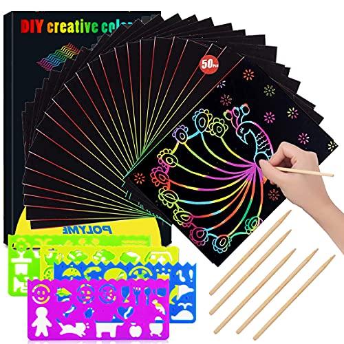 Coolon Kratzbilder für Kinder, 50 Blätter Kratzpapier Set Regenbogen Kratzpapier zum Zeichnen und Basteln, mit Schablonen, Holzstiften