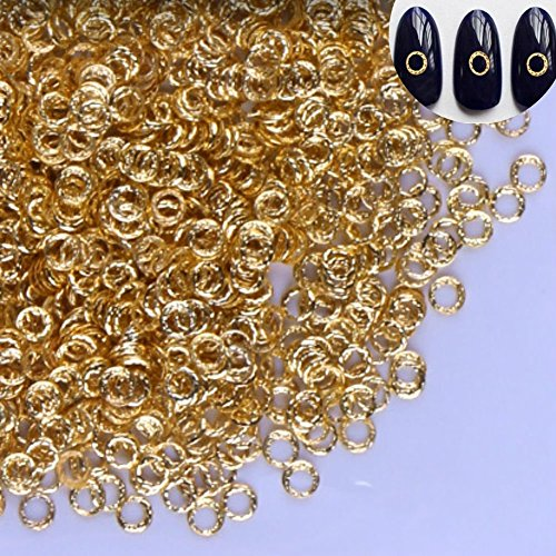 AKOAK 100 Count/Pack 3D Glitter Charm Nail Art Decoration Studs Japanese Rivet Style Mini Gold Alloy Circle Design Nail Supplies