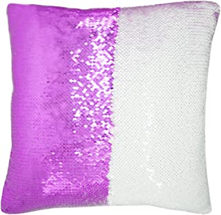 "URSKYTOUS Reversible Sequin Pillow Case Decorative Mermaid Pillow Cover Color Changing Cushion Throw Pillowcase 16"" x 16"",White and Purple"