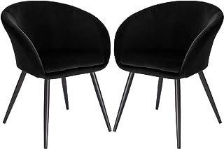 EUGAD Set de 2 Sillas Comedor Vintage Diseño Sillas Tapizada Nórdicas Moderna en Terciopelo Patas de Metal Silla de Cocina Silla Tulip Silla de Salón Negro