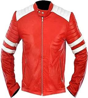 Mens Fight Mayhem Retro Club White Stripes Biker Red Synthetic Leather Jacket