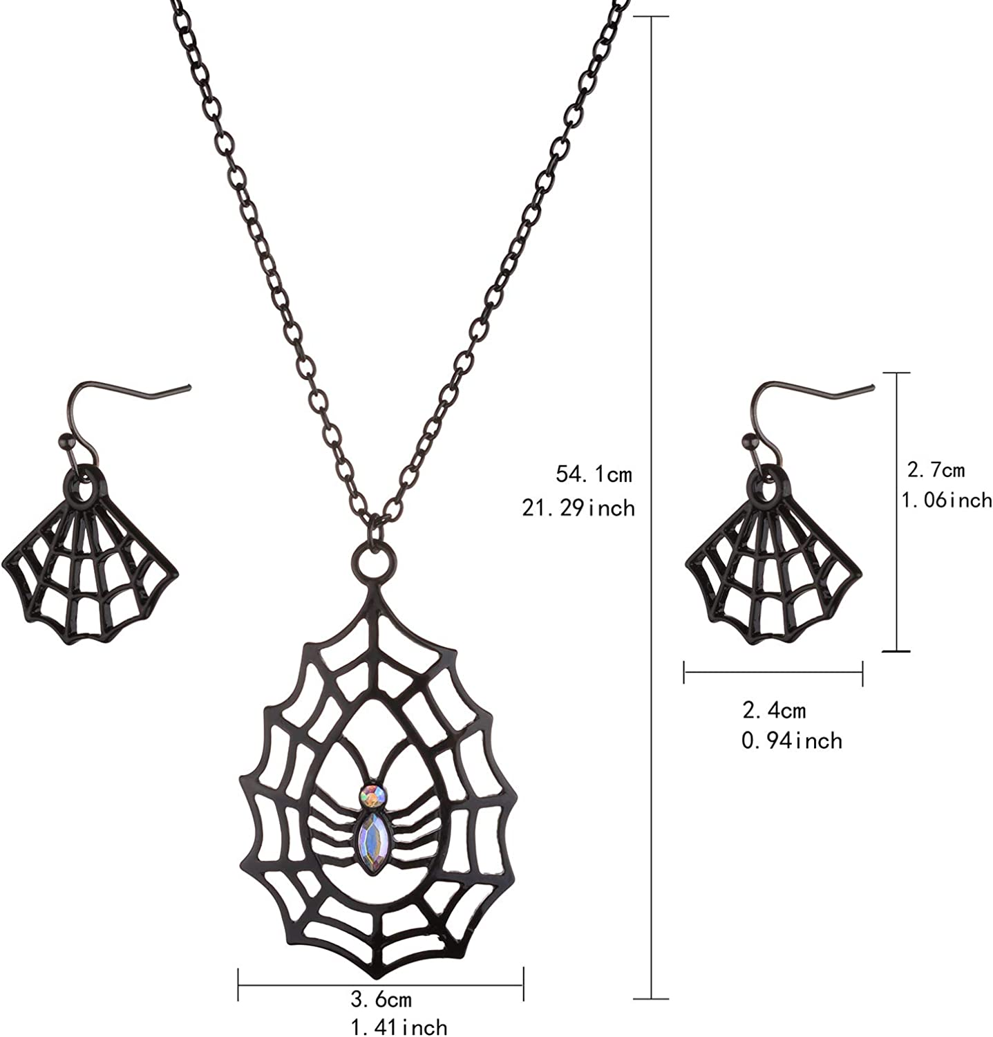Lux Accessories Halloween Christmas Black Huge Spider Web Pendant Chain Necklace Set Dangle Earrings