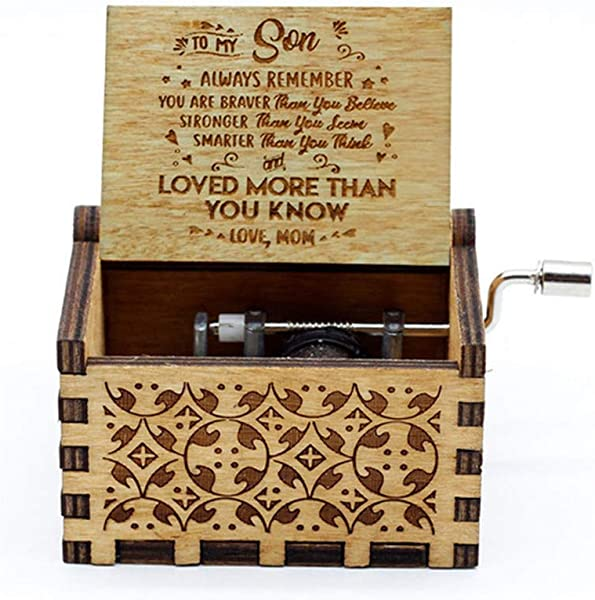MEETWAY Hand Crank Music Box For Son Gifts From Mom You Are My Sunshine Vintage Engraving Wooden Music Box