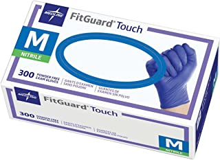 Medline FitGuard Touch Nitrile Exam Gloves, Disposable, Powder-Free, Cobalt Blue, Medium, Case of 3000