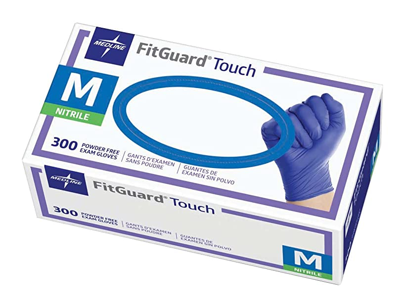 Medline FitGuard Touch Nitrile Exam Gloves, Disposable, Powder-Free, Cobalt Blue, Medium, Box of 300